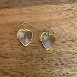 J. Crew crystal heart earrings